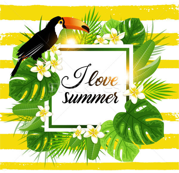 Stock photo: Tropical background with palm and toucan