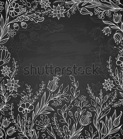 Zwart wit bloemen decoratief vector voorjaar natuur Stockfoto © Artspace