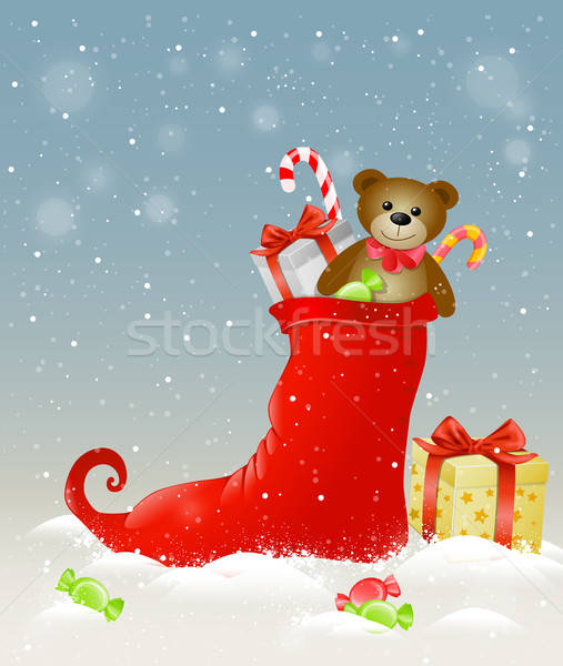 Red sock and Christmas gifts Stock photo © Artspace