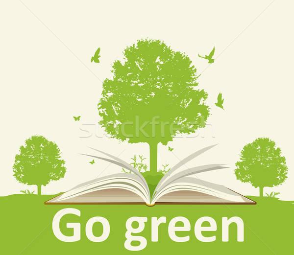 Photo stock: Paysage · livre · ouvert · arbre · arbre · vert · oiseaux · écologie