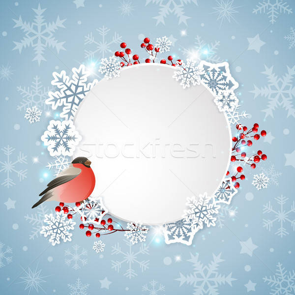 Bullfinch and white snowflakes Stock photo © Artspace