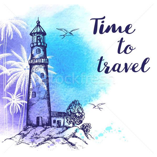 Stock fotó: Utazás · világítótorony · klasszikus · vektor · kék · vízfesték