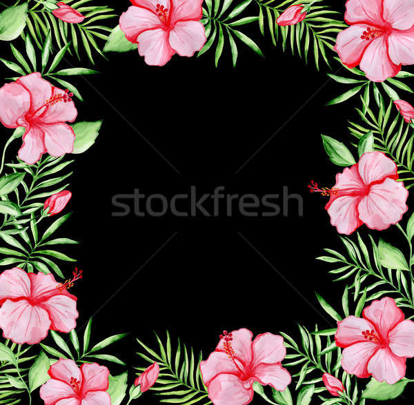 Tropical floral frame with red hibiscus  Stock photo © Artspace