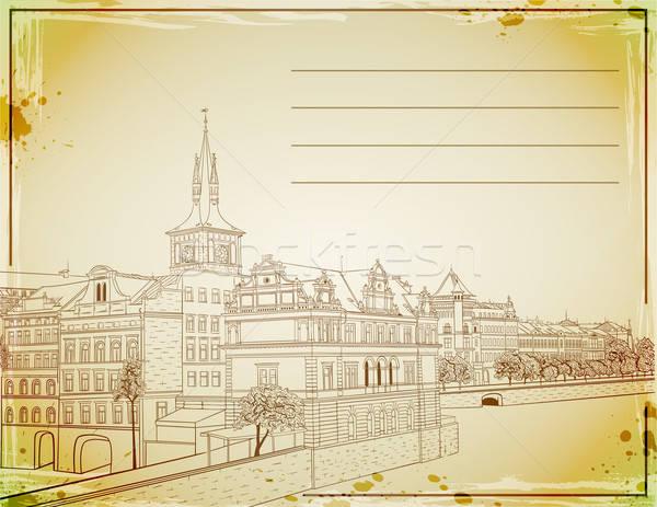 Retro post tarjeta dibujado a mano Praga edificio Foto stock © Artspace