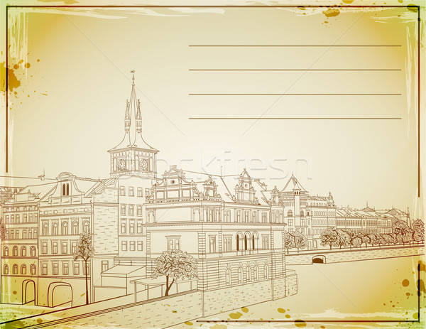 ретро пост карт рисованной Прага здании Сток-фото © Artspace