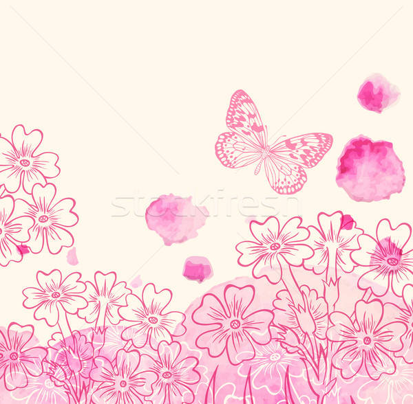 Flowers and pink watercolor blots Stock photo © Artspace