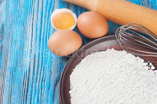 яйцо желток мучной яйца синий Сток-фото © Artspace