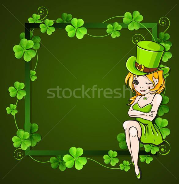 Verde trifoglio ragazza foglie frame design Foto d'archivio © Artspace