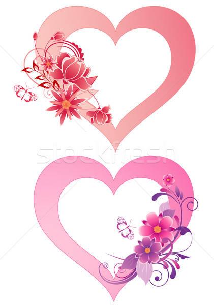 Coeurs fleurs rouge vecteur coeur Photo stock © Artspace