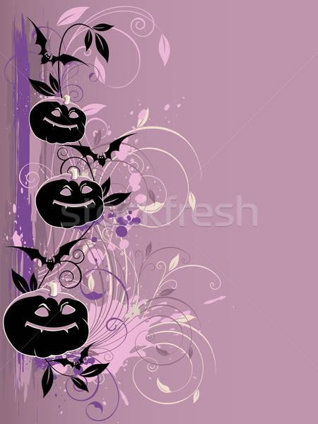 Ibolya halloween vektor halloween tök denevér levél Stock fotó © Artspace