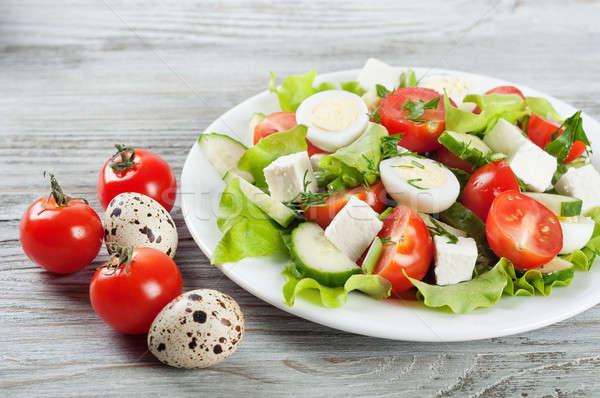 Saláta tojások koktélparadicsom friss uborka saláta Stock fotó © Artspace