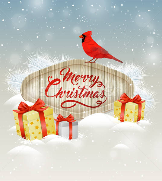 Background with gifts and cardinal bird. Stock photo © Artspace