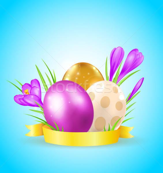 Ovos violeta páscoa cartão flor primavera Foto stock © Artspace