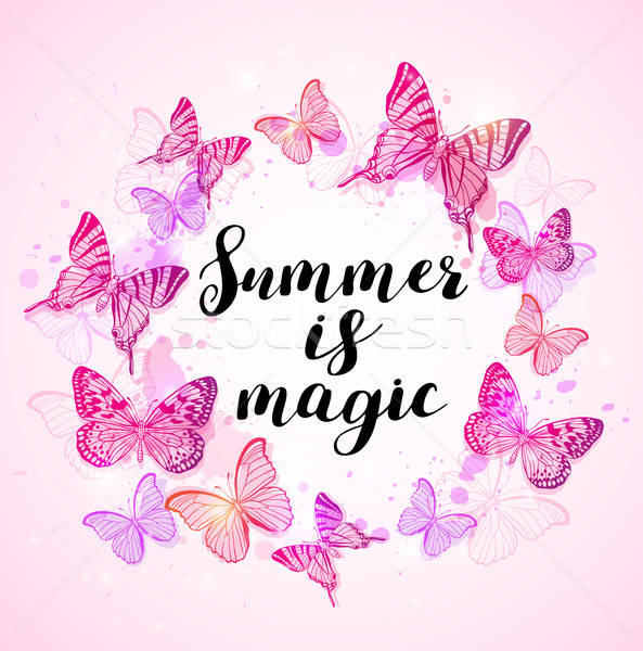 Summer background with pink butterflies Stock photo © Artspace