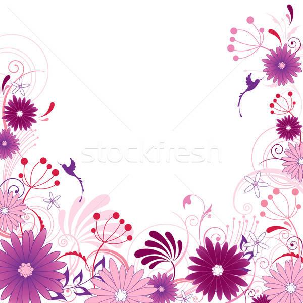 Foto stock: Violeta · floral · ornamento · flores · folhas · aves