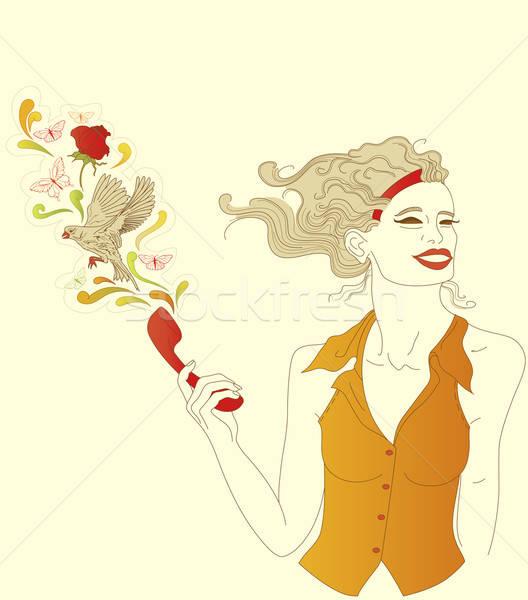Lány piros telefon kézzel rajzolt gyönyörű lány beszél Stock fotó © Artspace