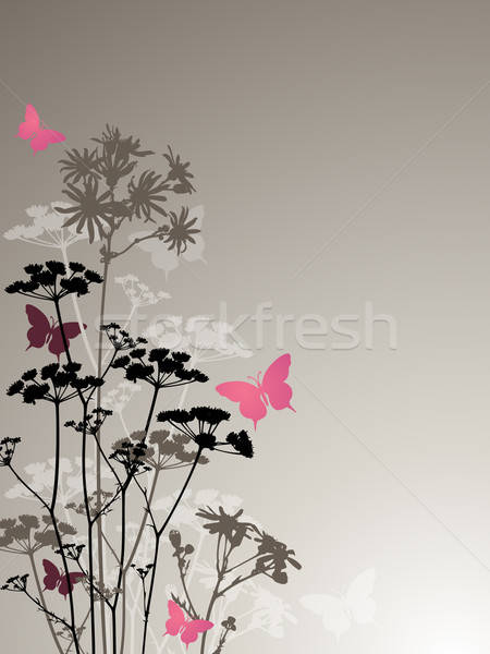 Floral noite flores vetor borboletas primavera Foto stock © Artspace
