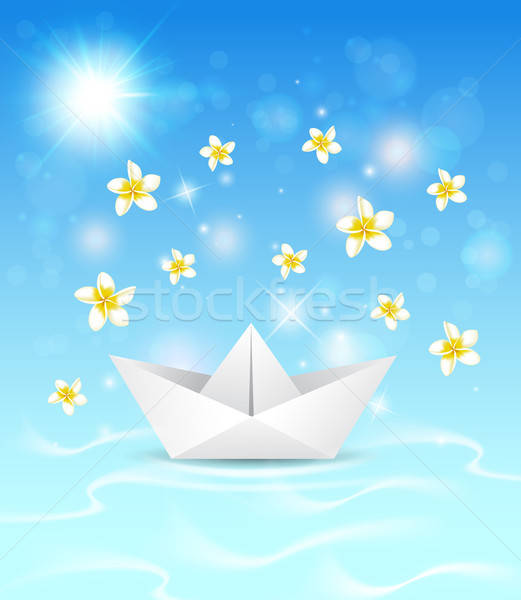 Background with paper boat and flowers  Stock photo © Artspace
