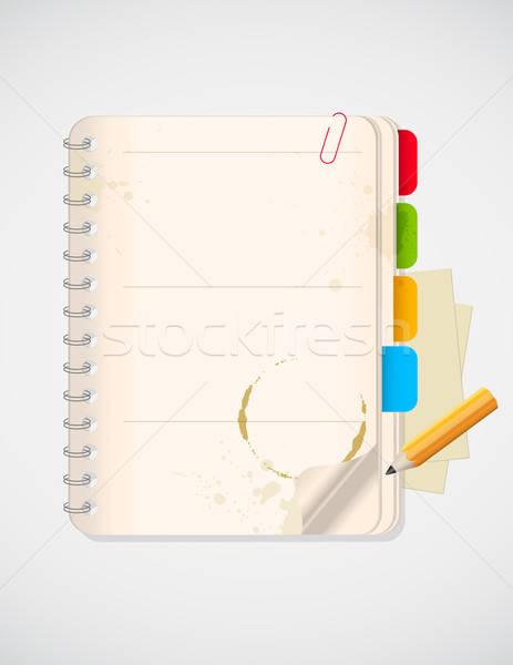 Notebook citromsárga ceruza vektor üzlet munka Stock fotó © Artspace