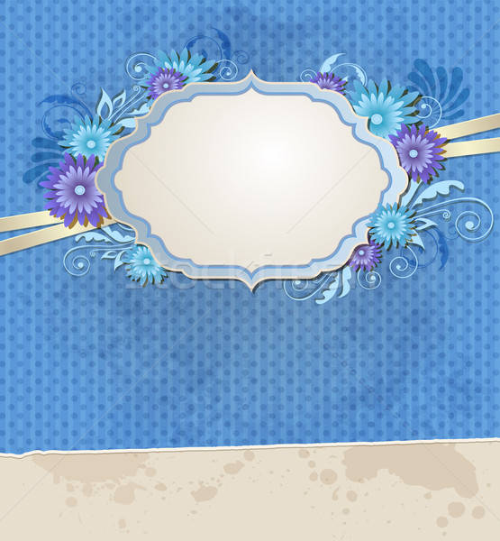 Blue vintage ragged paper and flowers Stock photo © Artspace