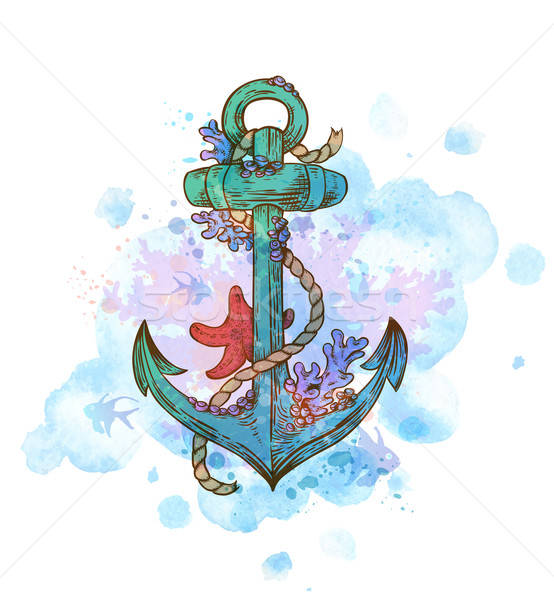 Vintage hand drawn anchor Stock photo © Artspace