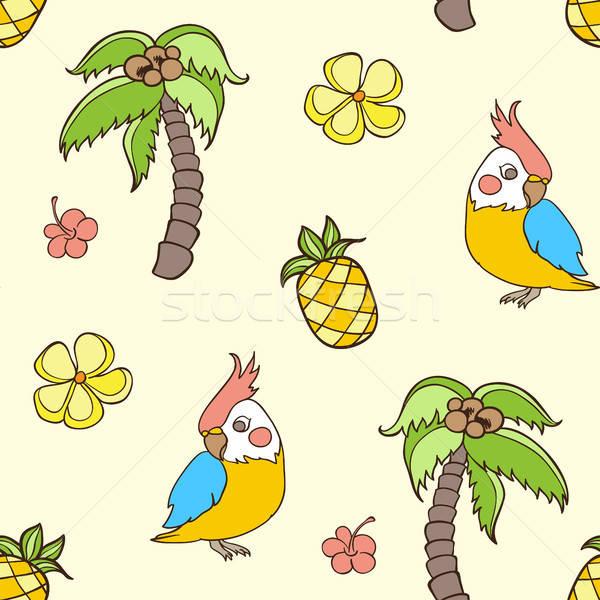 Minta pálmafa papagáj firka trópusi végtelen minta Stock fotó © Artspace