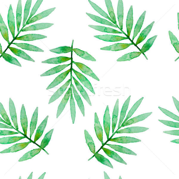 Stock photo: Watercolor seamless pattern with leaves