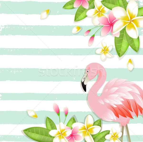 Tropical background with flowers and flamingo Stock photo © Artspace