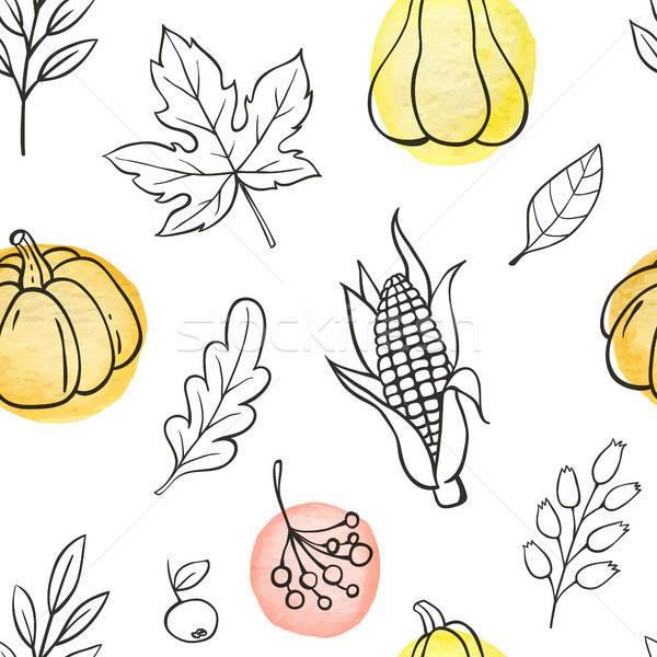 Stockfoto: Pompoenen · bladeren · najaar · doodle · witte