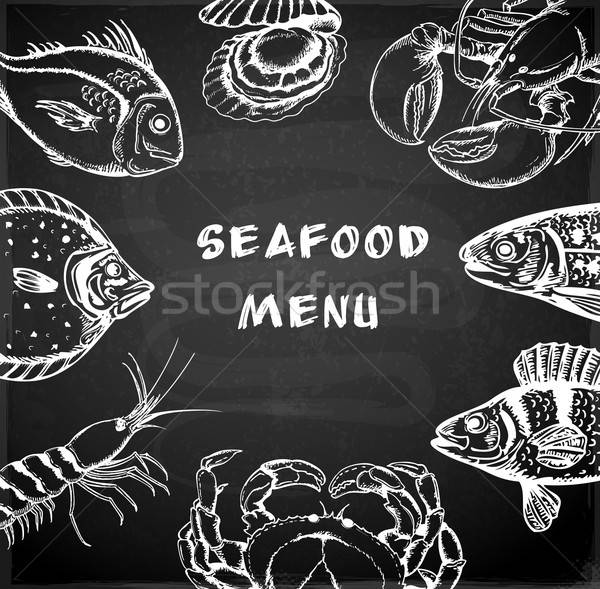Fruits de mer menu vintage dessinés à la main tableau poissons Photo stock © Artspace