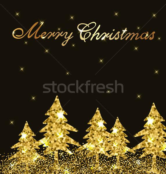 Arany csillámlás karácsony ragyogó terv karácsonyi üdvözlet Stock fotó © Artspace