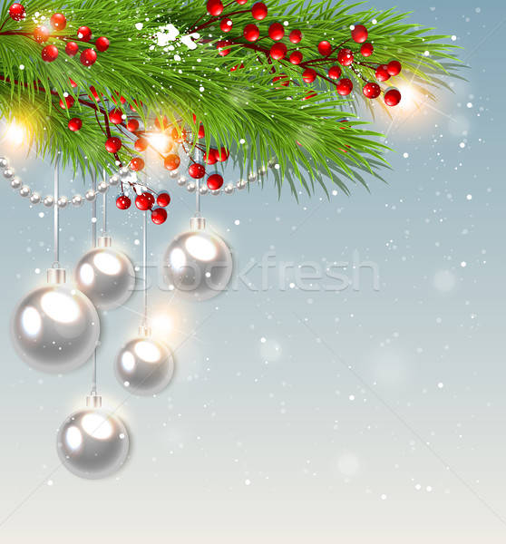 Stock fotó: Zöld · fenyő · ág · fehér · díszítések · karácsony