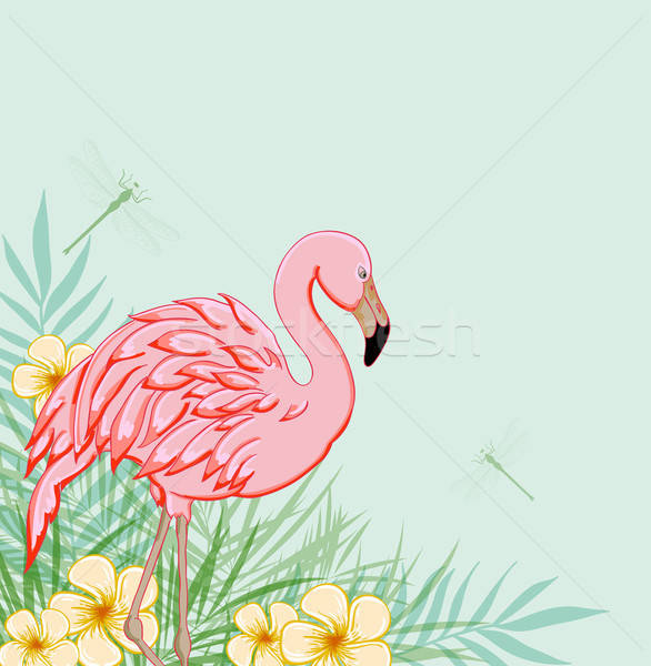 Pink flamingo and flowers Stock photo © Artspace