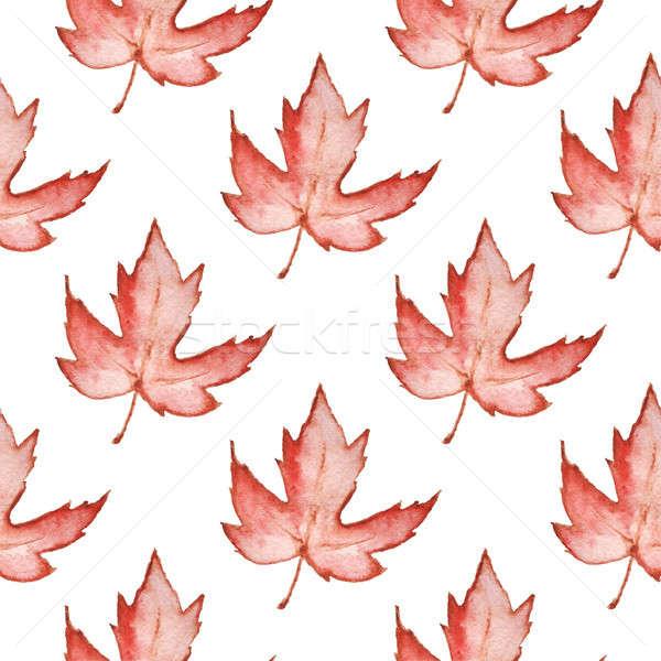 Minta piros juhar levelek virágmintás vízfesték Stock fotó © Artspace