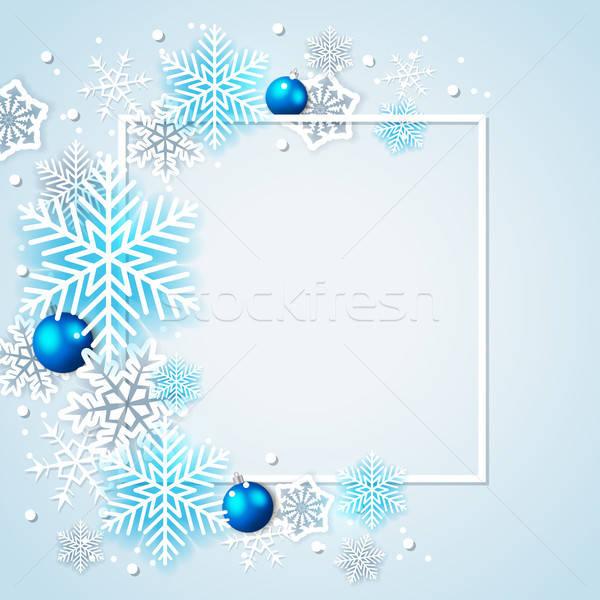 Vacaciones blanco azul decoraciones marco Foto stock © Artspace
