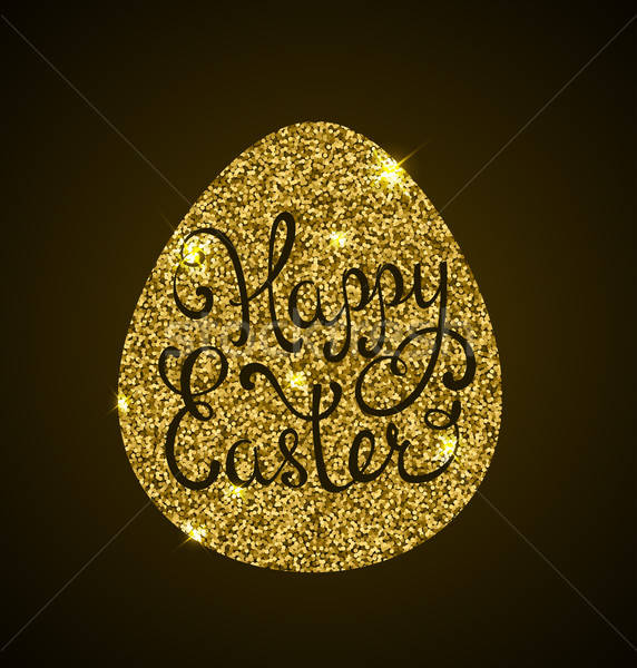 Golden egg and greeting inscription Stock photo © Artspace