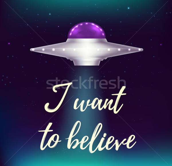 Fantasztikus UFO repülés űr ragyogó csillagok Stock fotó © Artspace