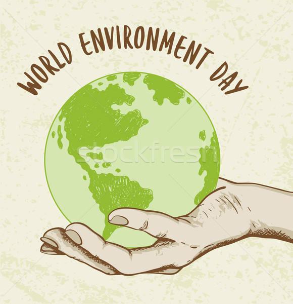 Planeta tierra mano humana ecología mundo medio ambiente día Foto stock © Artspace