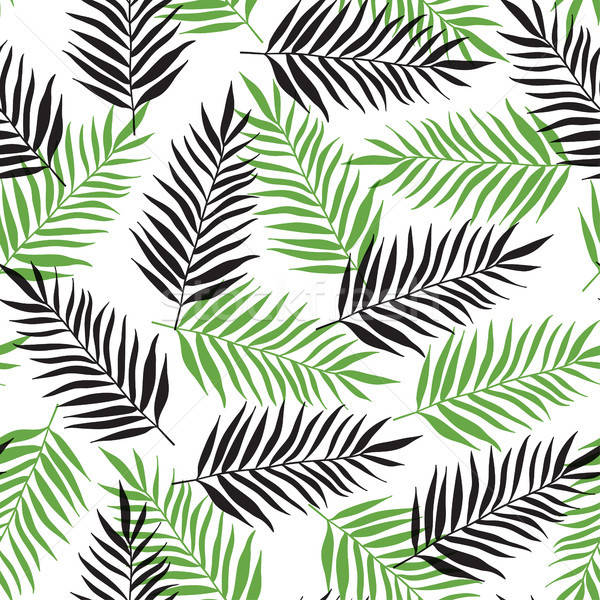 Pattern with black and green palm leaves Stock photo © Artspace