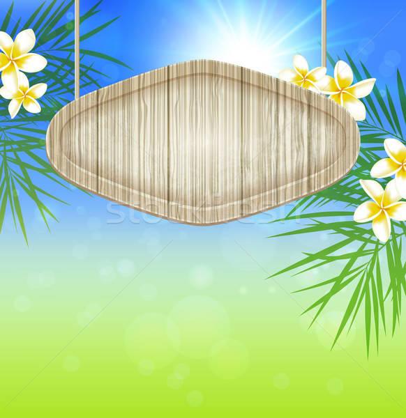 Sommer Holz Banner Palmen Zweig Blumen Stock foto © Artspace