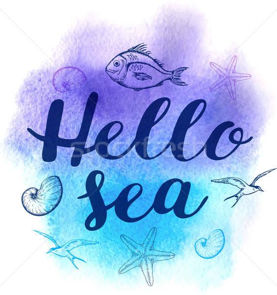 Aquarel mariene vector abstract hallo zee Stockfoto © Artspace