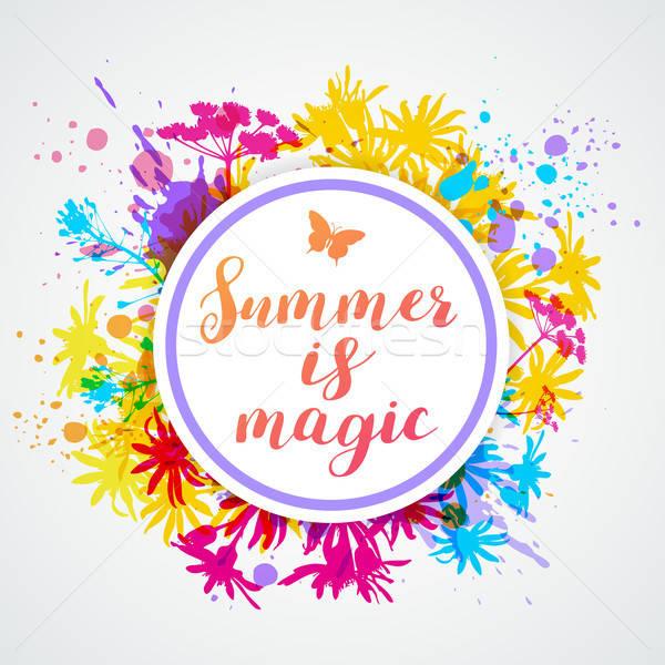 Foto stock: Abstrato · floral · verão · bandeira · brilhante · magia
