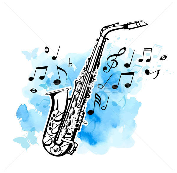 Saxophone on a blue watercolor background Stock photo © Artspace