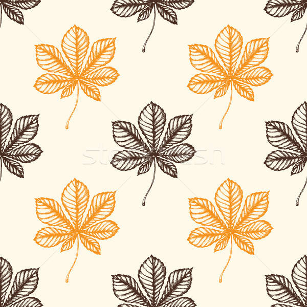 Autumn pattern with chestnut leaves Stock photo © Artspace