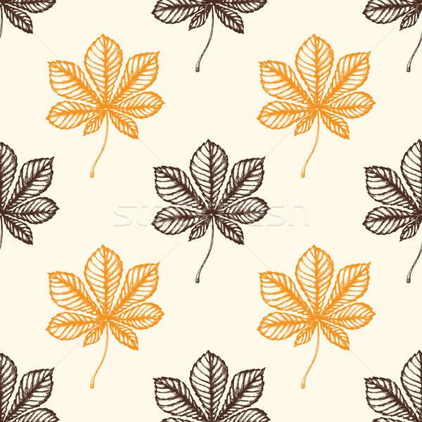 秋 パターン 栗 葉 手描き ストックフォト © Artspace