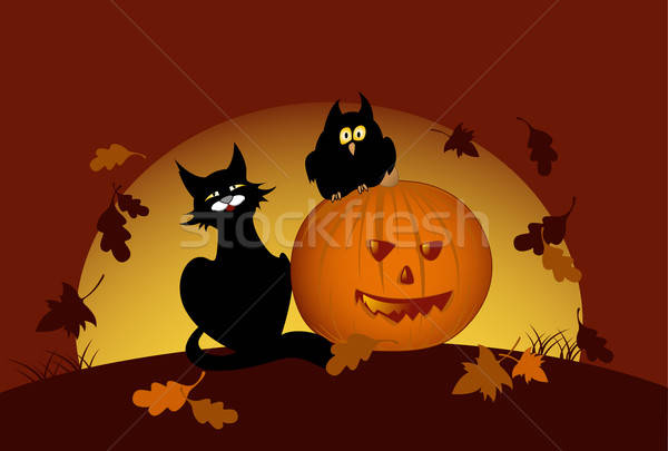 halloween pumpkin and black cat Stock photo © Artspace