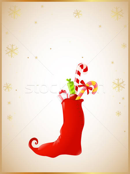 Christmas background with red sock and gifts Stock photo © Artspace