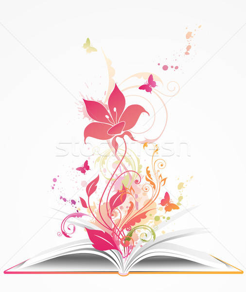open book and  pink flower Stock photo © Artspace