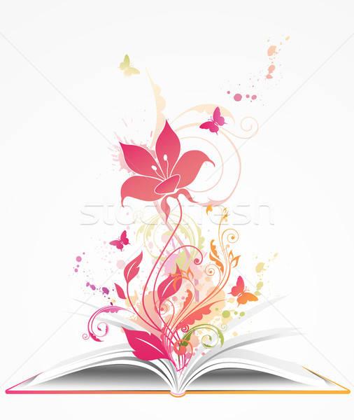 Nyitott könyv rózsaszín virág pillangók papír tavasz könyv Stock fotó © Artspace