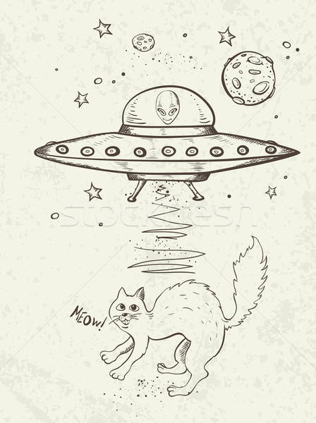 UFO abducts a cat Stock photo © Artspace
